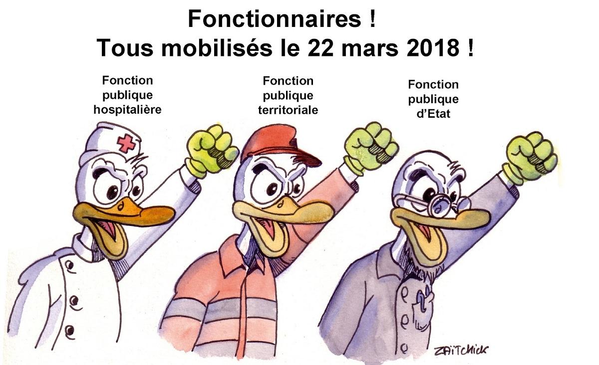 dessin humoristique de fonctionnaires se mobilisant pour défendre la fonction publique le 22 mars 2018