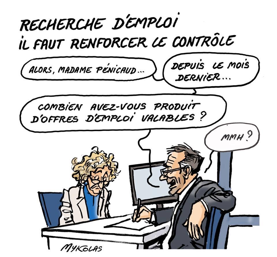 dessin humoristique de Muriel Pénicaud face à un conseiller Pôle Emploi
