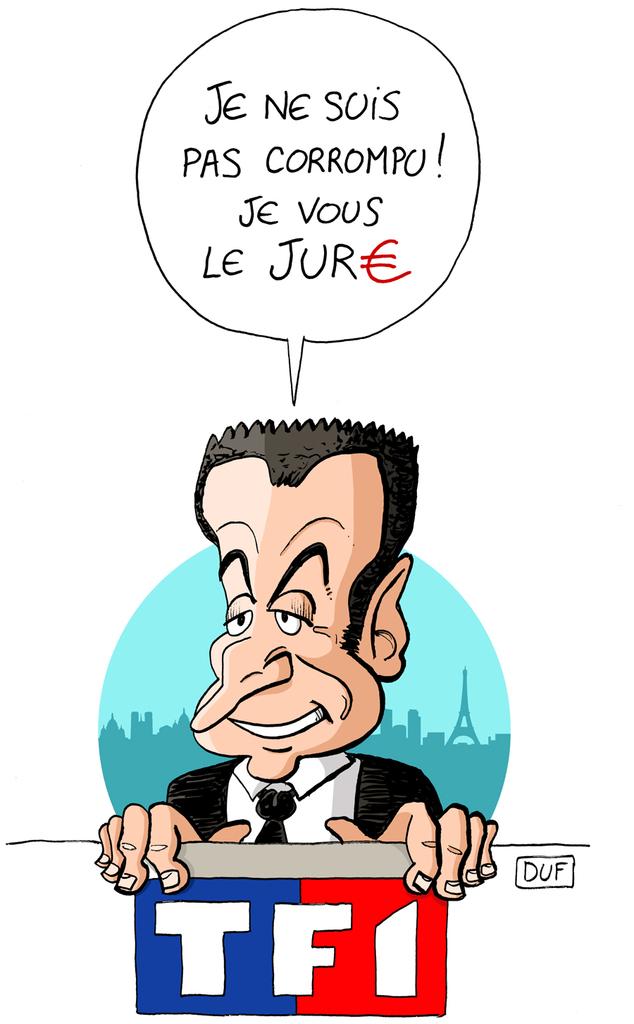 dessin humoristique de Nicolas Sarkozy interviewé sur TF1