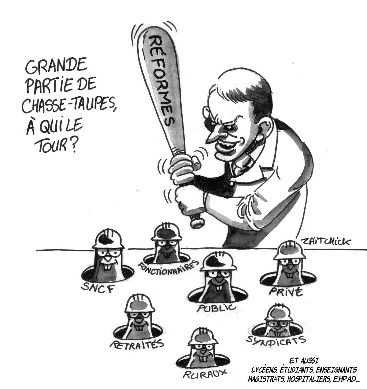 dessin humoristique d'Emmanuel Macron jouant au chasse-taupes des réformes