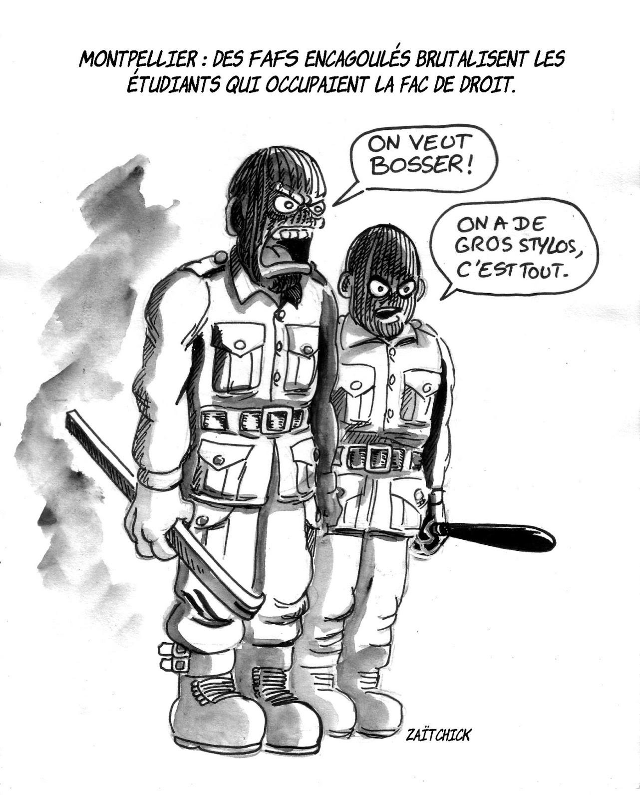 dessin humoristique d'étudiants d'extrême-droite encagoulés et armés à la faculté de Montpellier
