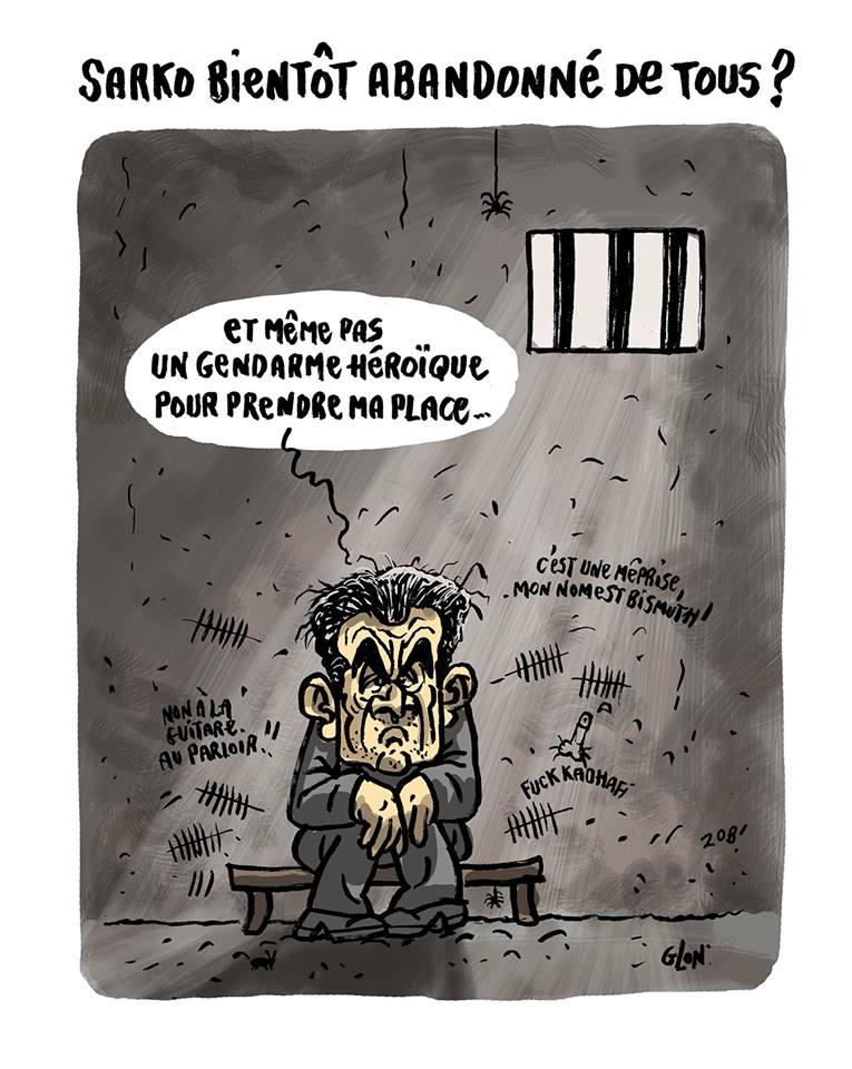 dessin humoristique de Nicolas Sarkozy en prison