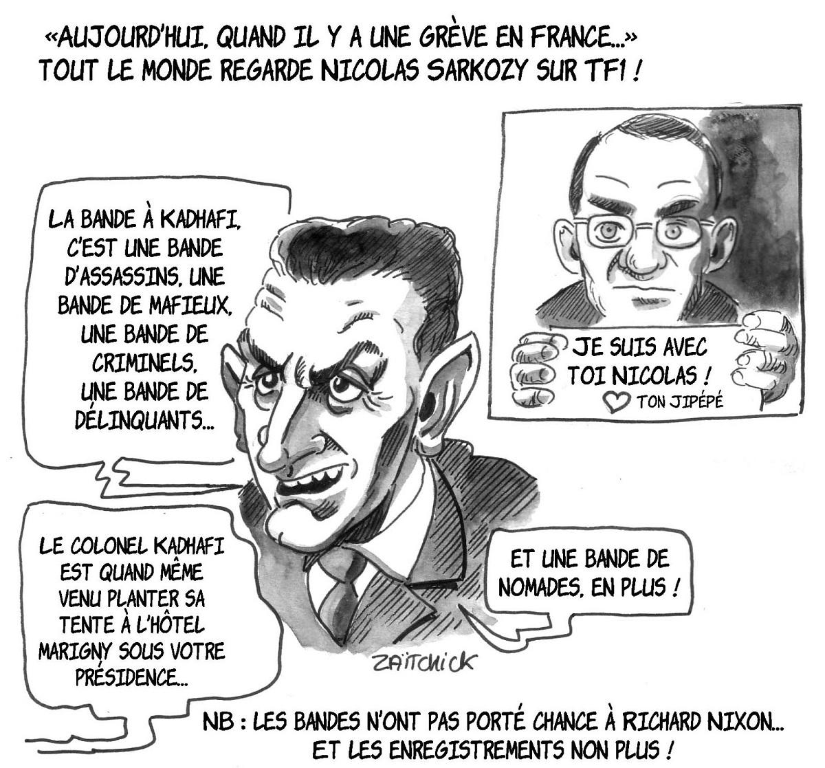 dessin humoristique de Nicolas Sarkozy interviewé sur TF1 et soutenu par Jean-Pierre Pernaut