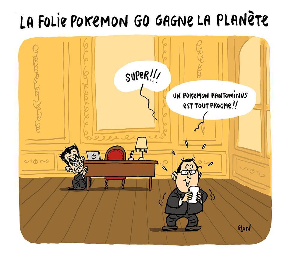 dessin d'actualité humoristique montrant François Hollande en train de jouer à Pokémon GO