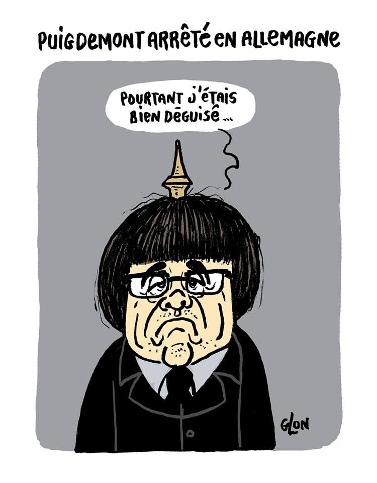 dessin d'actualité sur l'arrestation de Carles Puigdemont en Allemagne
