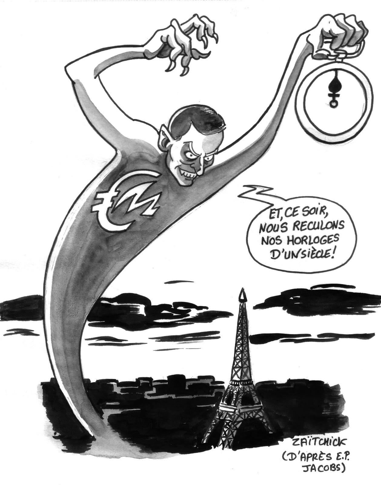 dessin d'actualité sur Emmanuel Macron et le changement d'heure