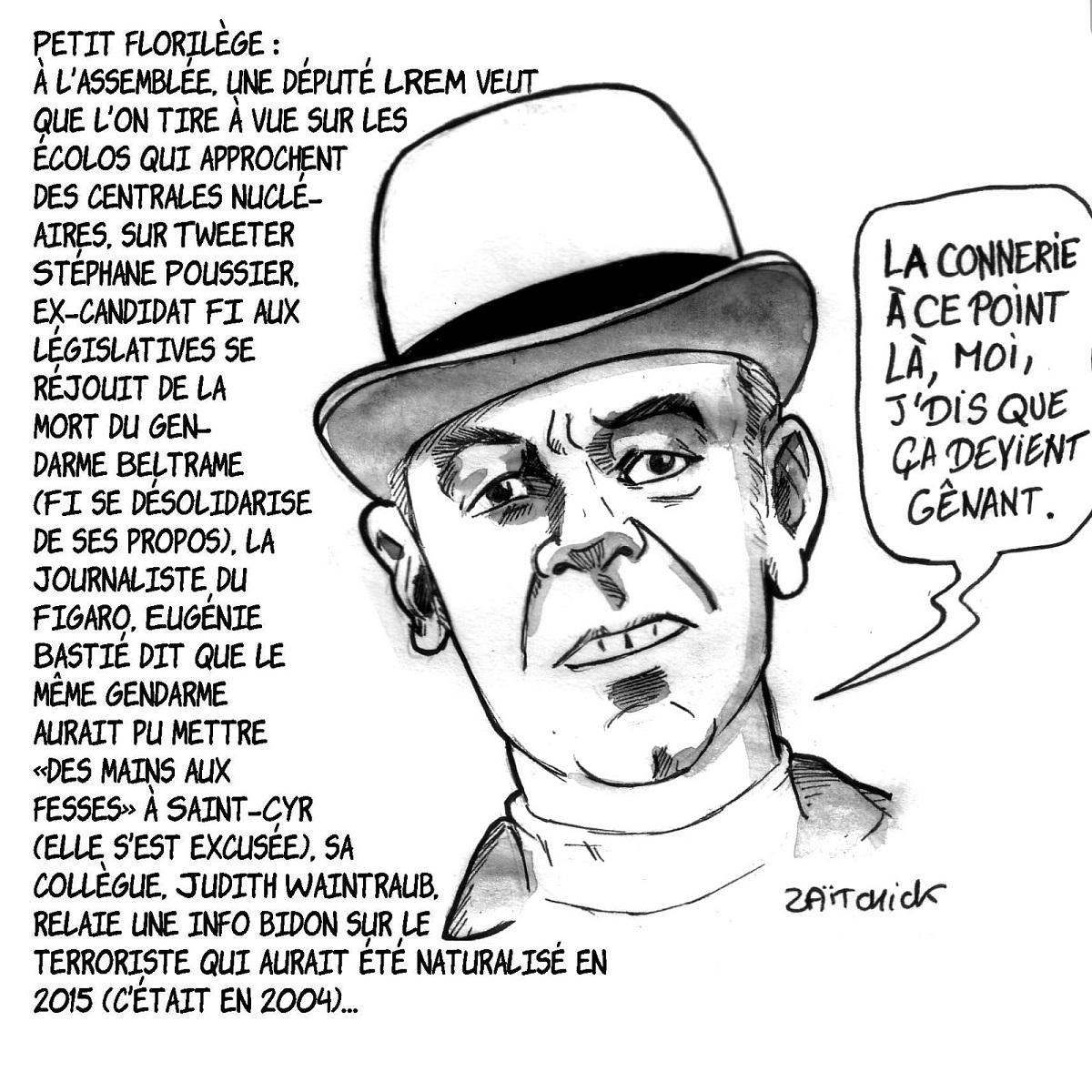 dessin d'actualité montrant André Pousse commentant les derniers évènements