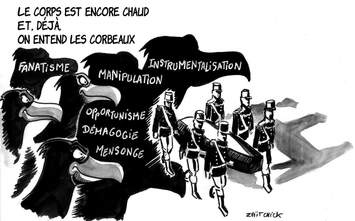 dessin d'actualité sur l'enterrement du gendarme Arnaud Beltrame