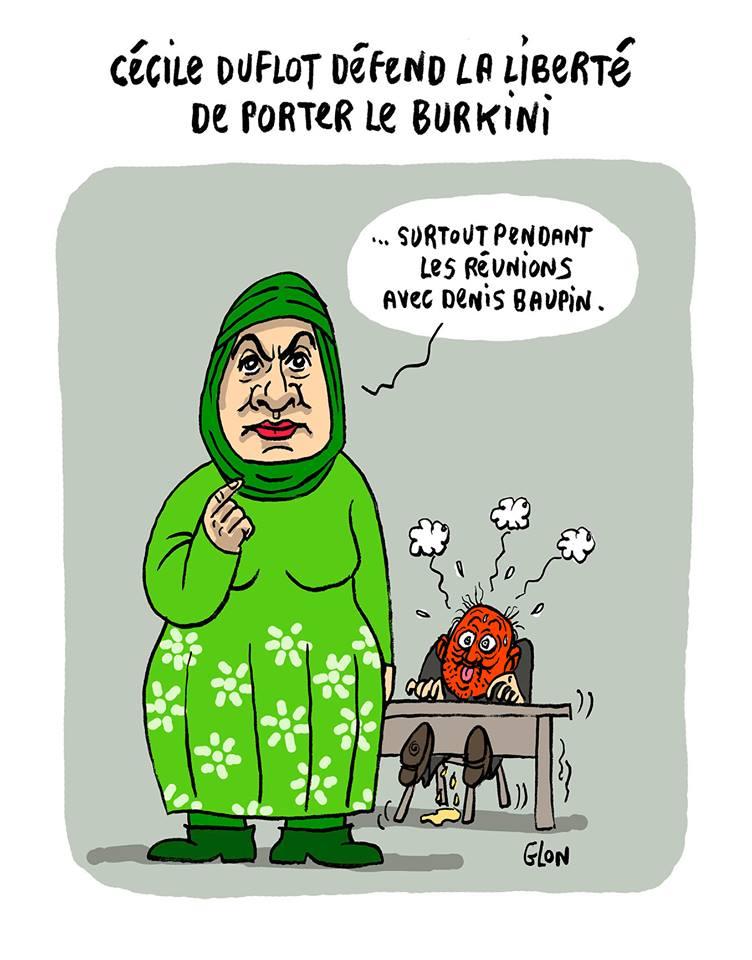 dessin humoristique de Cécile Duflot voilée défendant la liberté de porter le burkini