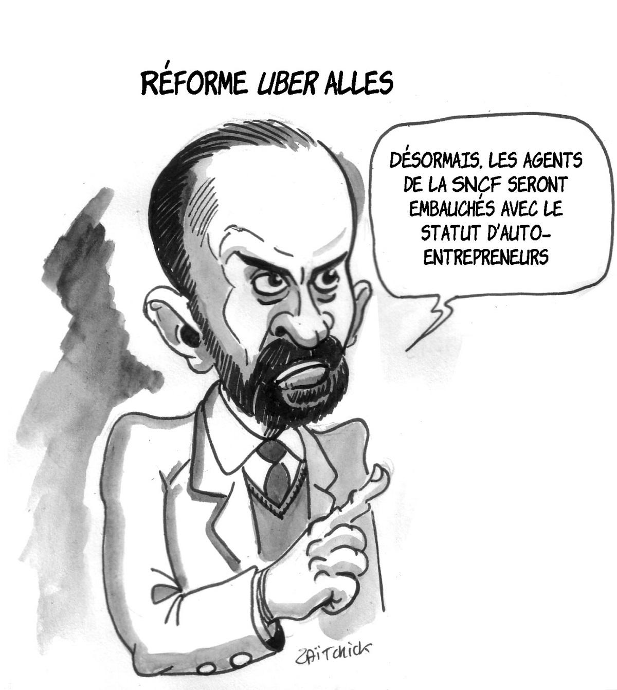 dessin drôle d'Edouard Philippe annonçant la réforme de la SNCF