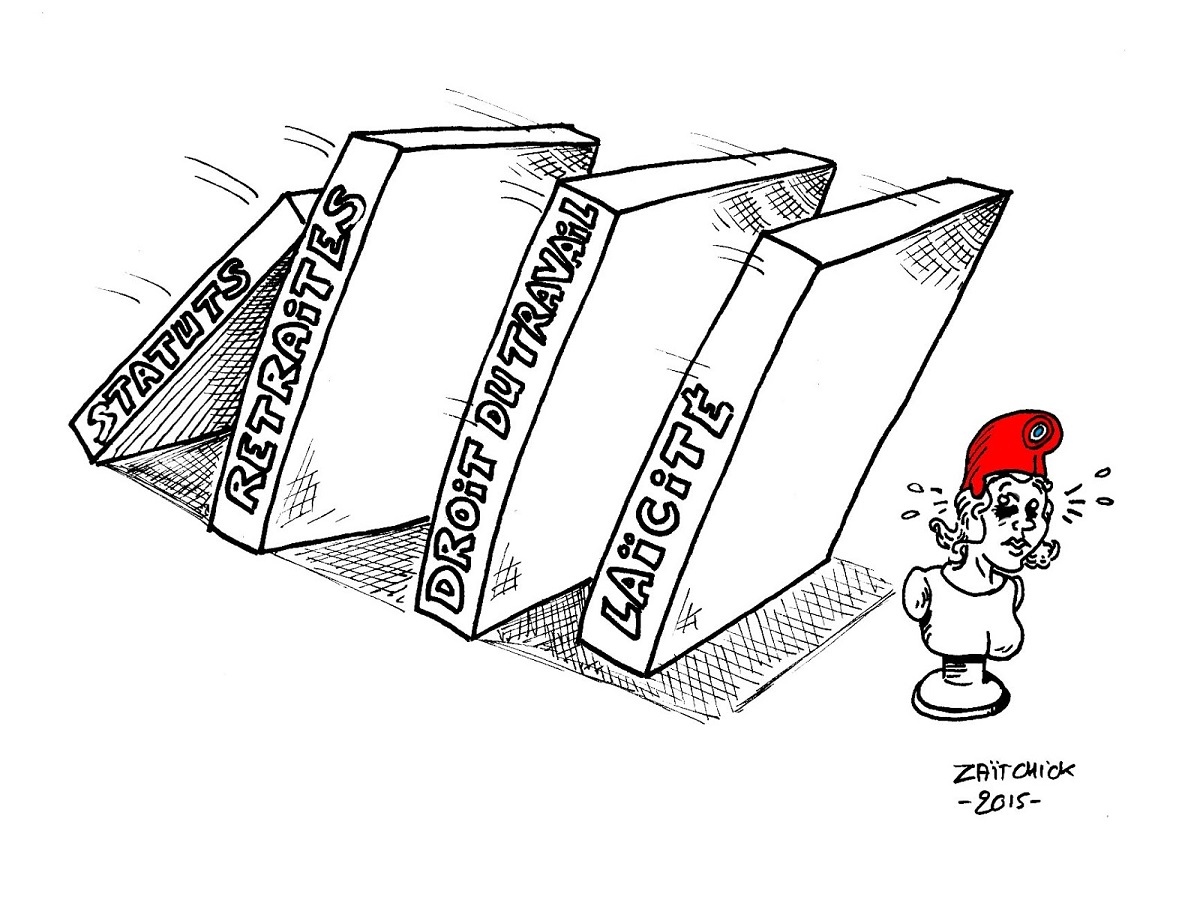 dessin d'actualité humoristique de Marianne subissant l'effet domino des réformes Macron
