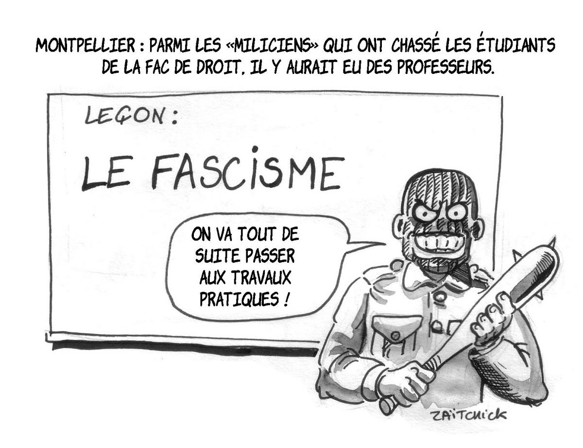 dessin d'actualité humoristique montrant un professeur milicien à la Faculté de Droit de Montpellier
