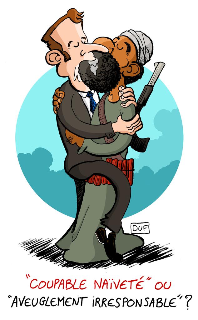 dessin d'actualité montrant Emmanuel Macron embrassant un djihadiste