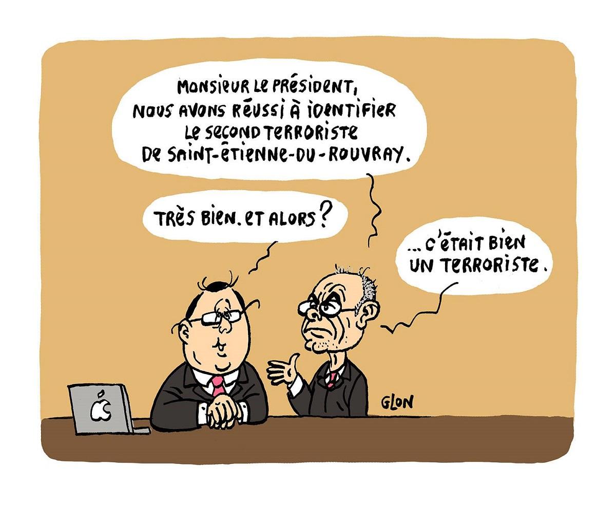 dessin humoristique de François Hollande et Bernard Cazeneuve parlant de l'attentat de Saint-Étienne-du-Rouvray