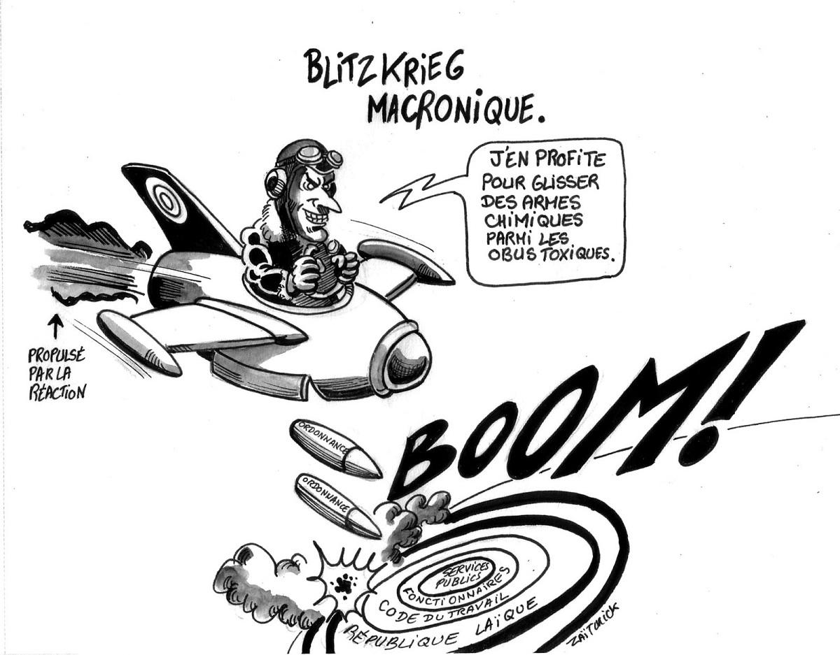 dessin d'actualité montrant Emmanuel Macron bombardant la France de réformes