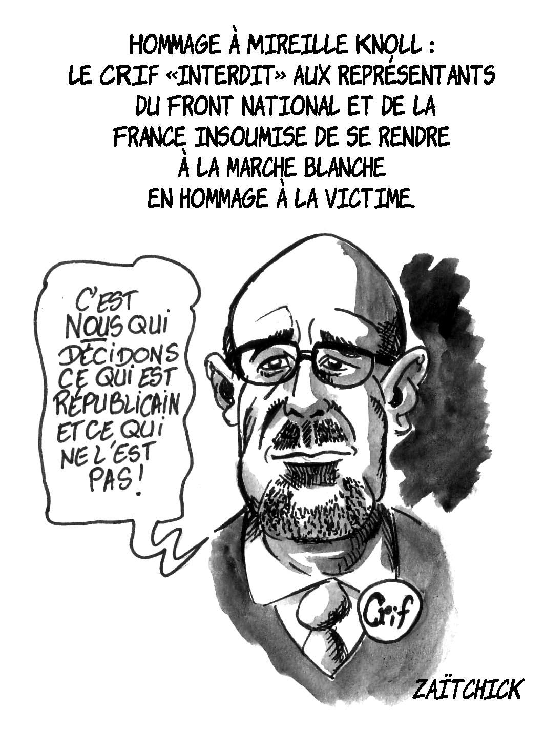 dessin d'actualité de Francis Kalifat refusant que les représentants du Front National et de la France Insoumise se joignent à la marche blanche en hommage à Mireille Knoll