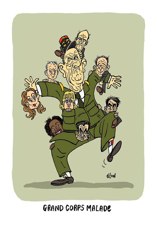 dessin humoristique de Charles de Gaulle en grand corps malade des politique qui revendiquent sa filiation