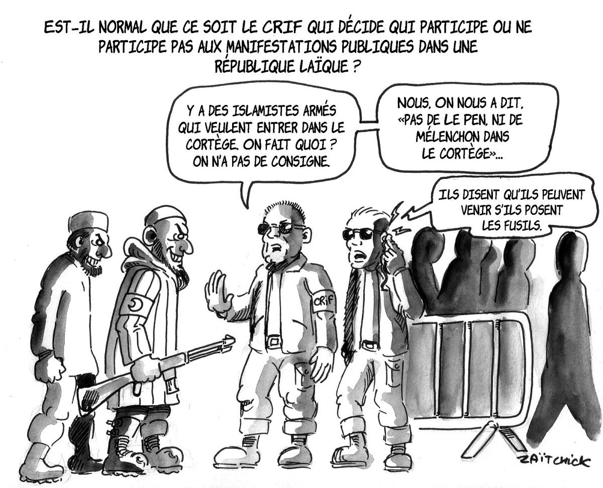 dessin d'actualité de la marche blanche en hommage à Mireille Knoll et du service d'ordre du CRIF