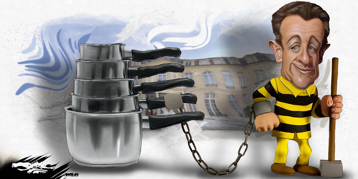 dessin d'actualité montrant Nicolas Sarkozy en prison enchaîné à ses casseroles