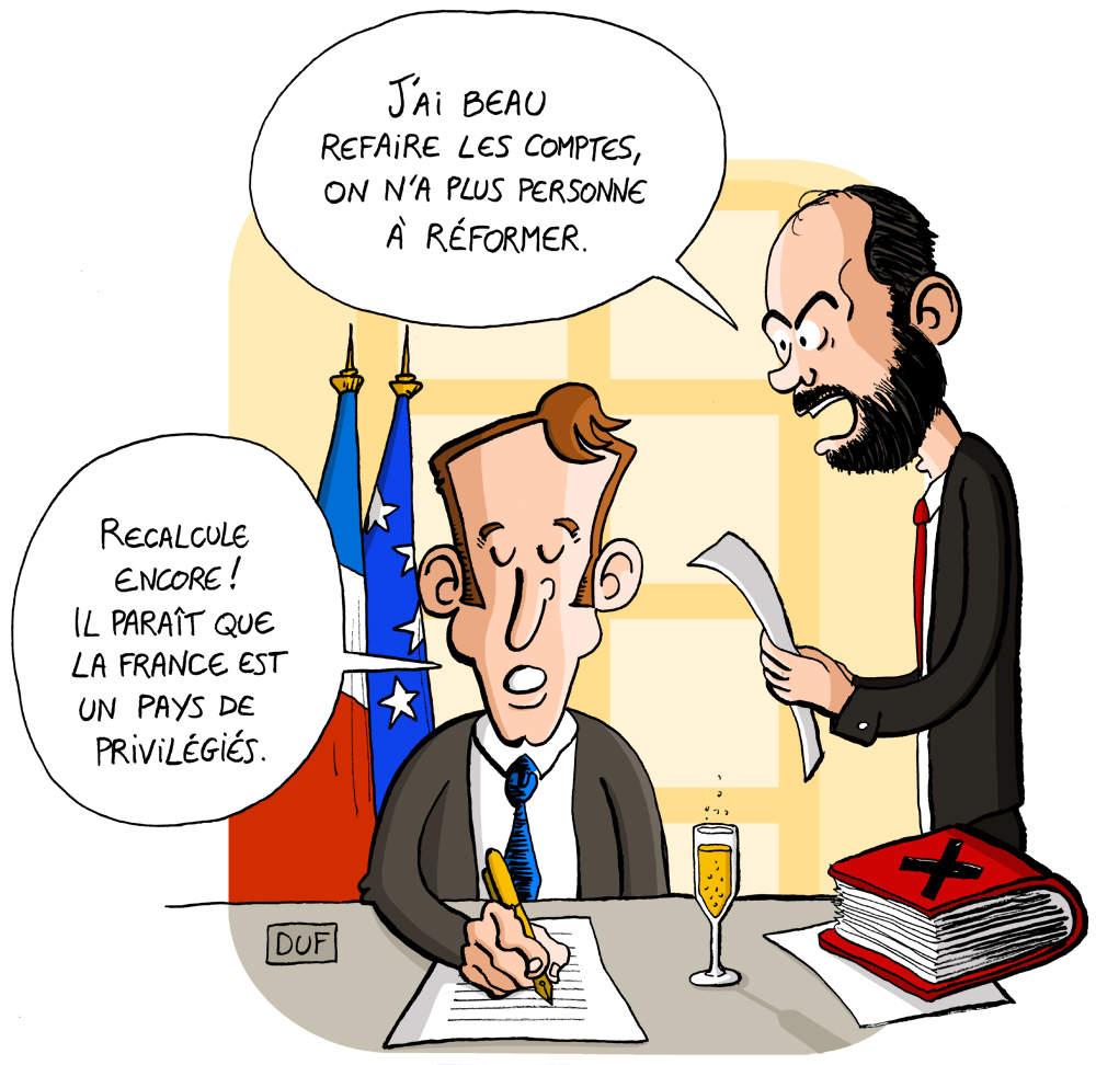 dessin d'actualité humoristique montrant Emmanuel Macron demandant à Édouard Philippe la prochaine caste de privilégiés à réformer