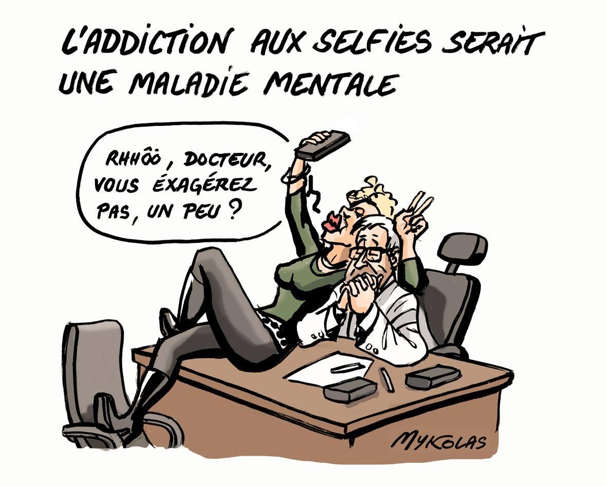 dessin humoristique d'une femme accro aux selfies avec son médecin