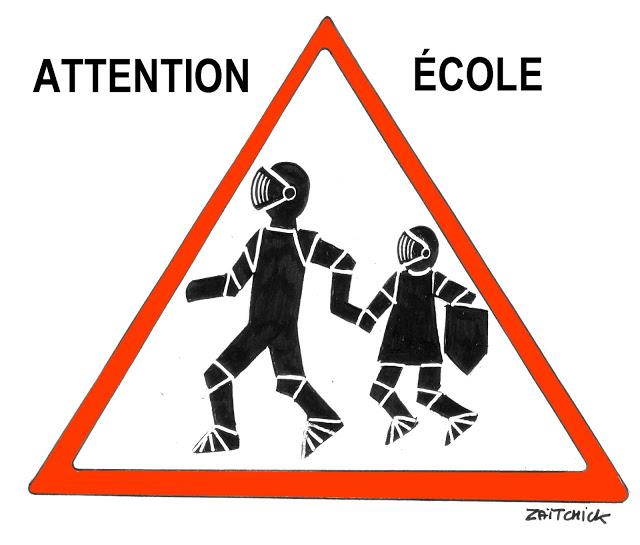 dessin humoristique d'un panneau attention école américain