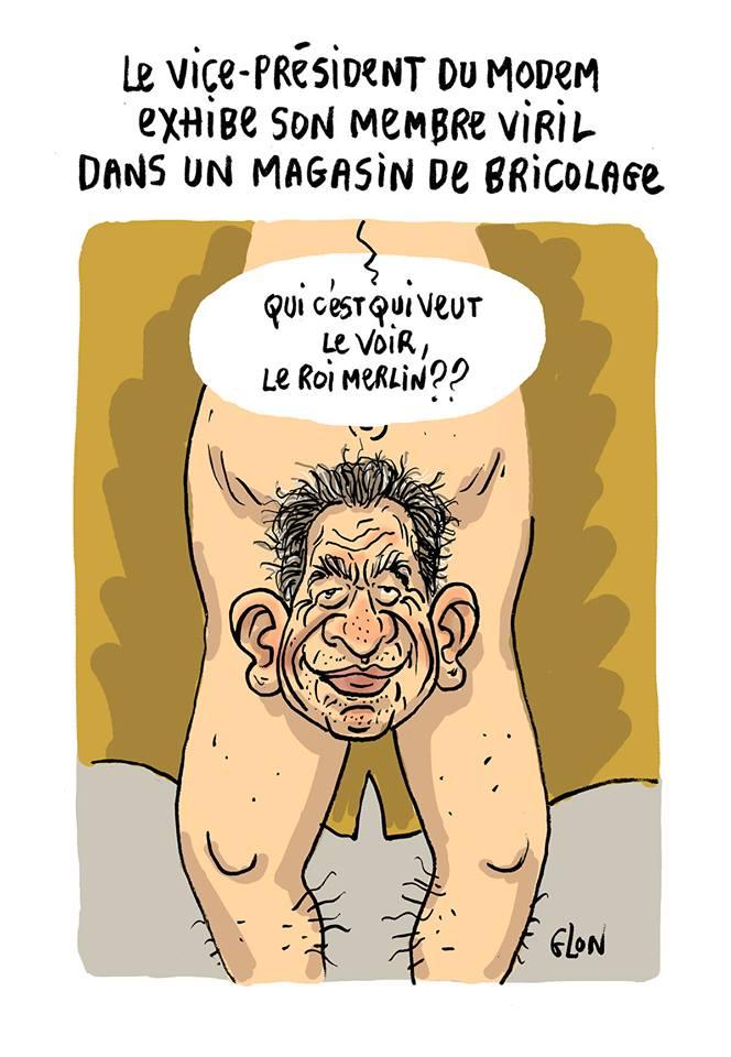 dessin humoristique du vice-président du Modem exhibant François Bayrou