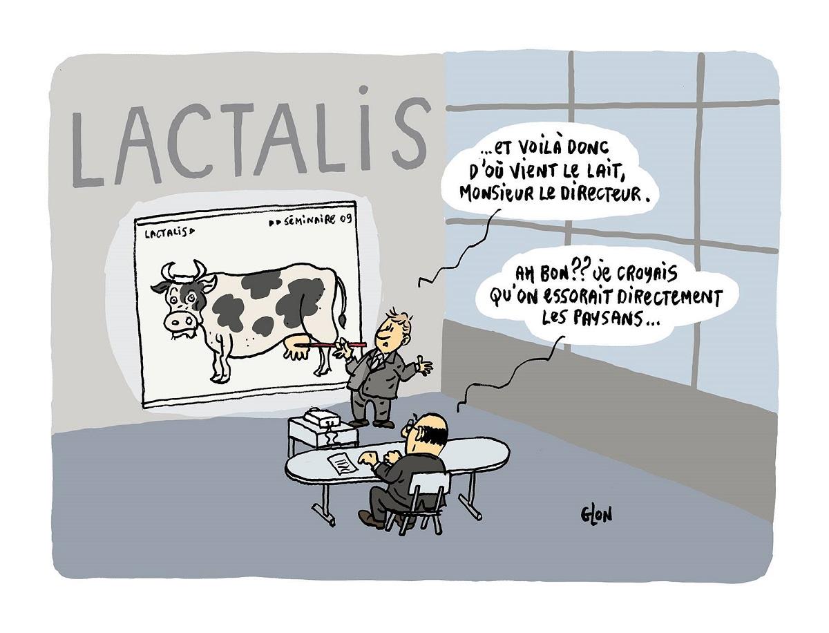 dessin humoristique de la formation du Président de Lactalis sur la provenance du lait