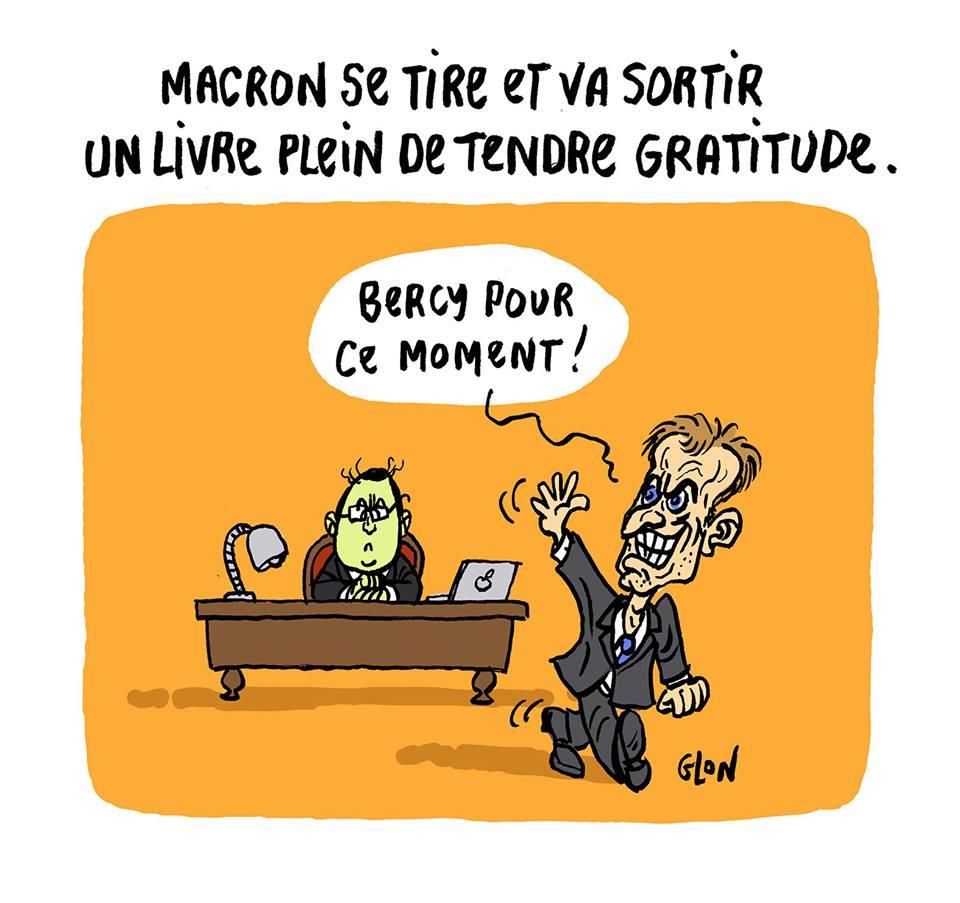 dessin humoristique d'Emmanuel Macron se tirant du bureau de François Hollande