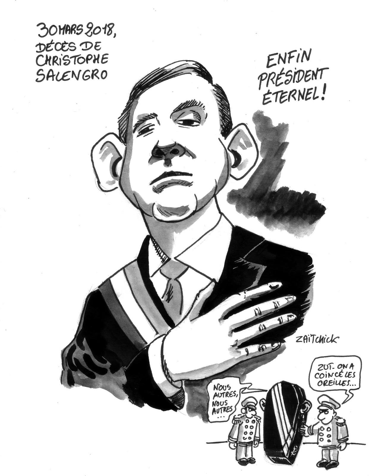 dessin d'actualité en hommage à Christophe Salengro, président du Groland