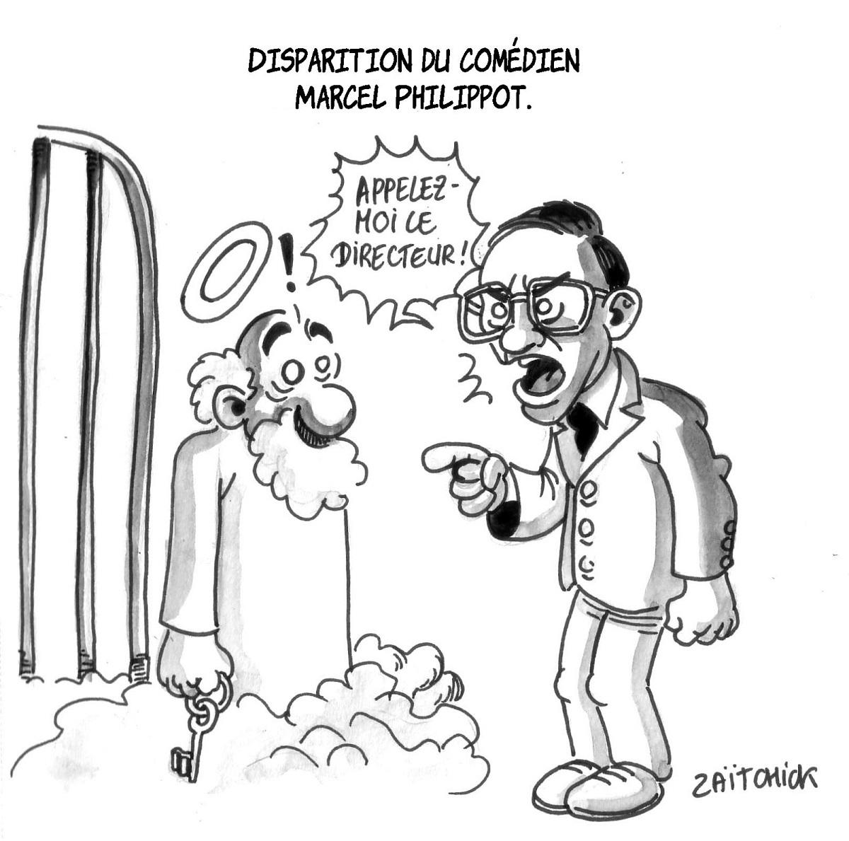 dessin humoristique de Marcel Philippot demandant à Saint Pierre d'appeler le directeur du Paradis