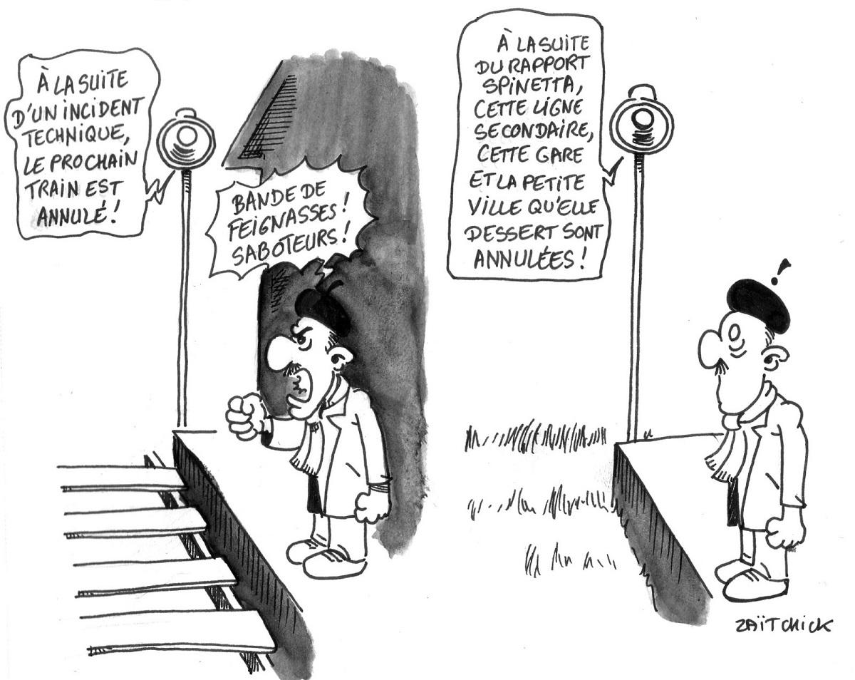 dessin humoristique d'un voyageur qui attend le train dans une petite gare