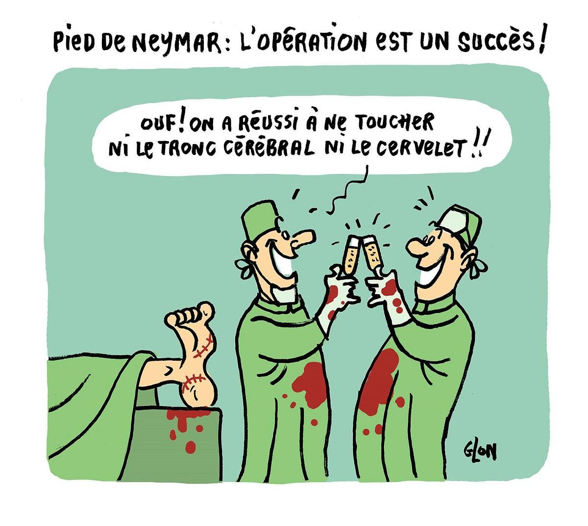 dessin humoristique des chirurgiens qui viennent d'opérer le pied de Neymar