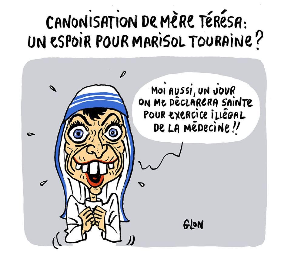 dessin humoristique de Marisol Touraine qui rêve d(être canonisée comme Mère Térésa