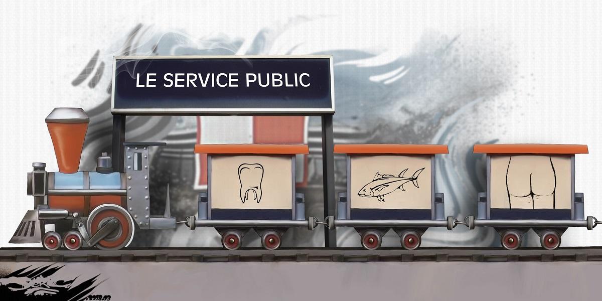 dessin humoristique du petit train de la mémoire de Maurice Brunot adapté au service public