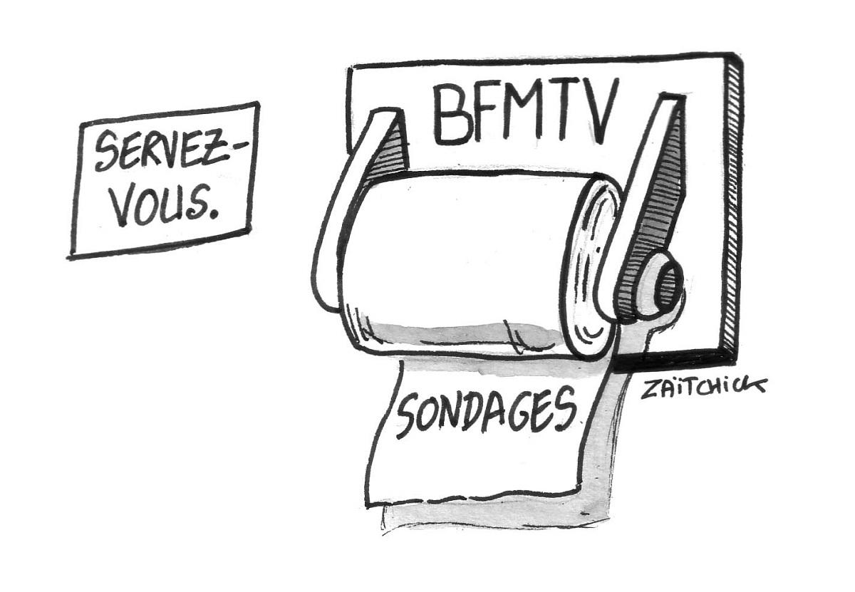 dessin humoristique représentant les sondages de BFMTV en papier chiottes