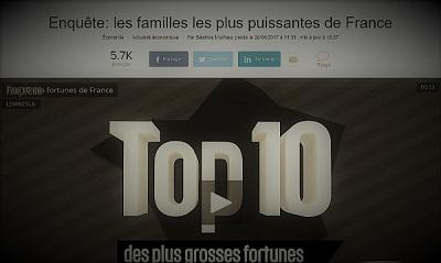 copie d'écran d'une enquête sur les familles les plus puissantes de France