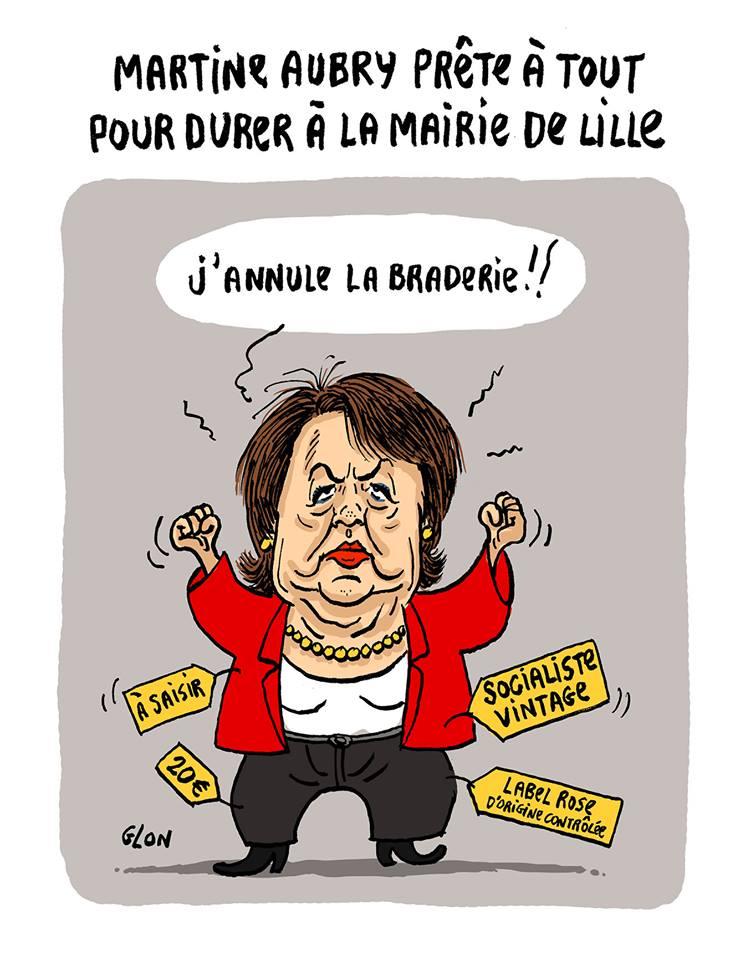 dessin d'actualité montrant Martine Aubry annulant la Braderie de Lille