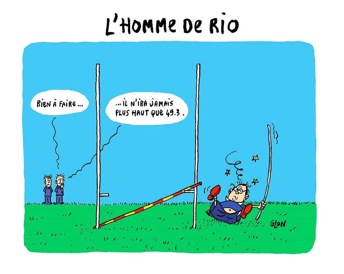 dessin d'actualité humoristique de François Hollande tentant d'arriver plus haut que le 49.3
