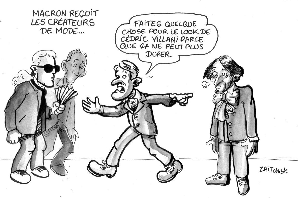 dessin humoristique d'Emmanuel Macron demandant aux créateurs de mode de changer le look de Cédric Villani