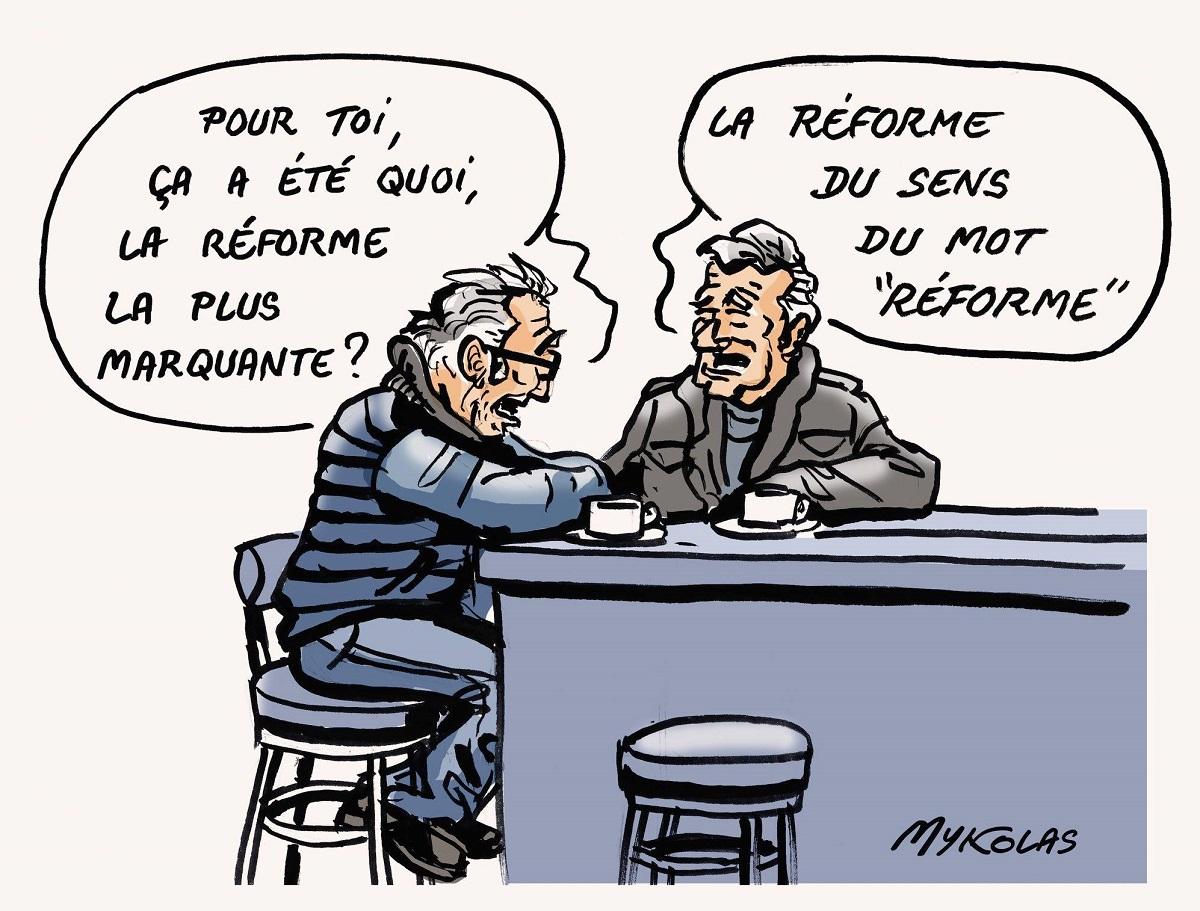 dessin humoristique de français parlant des réformes dans un bar