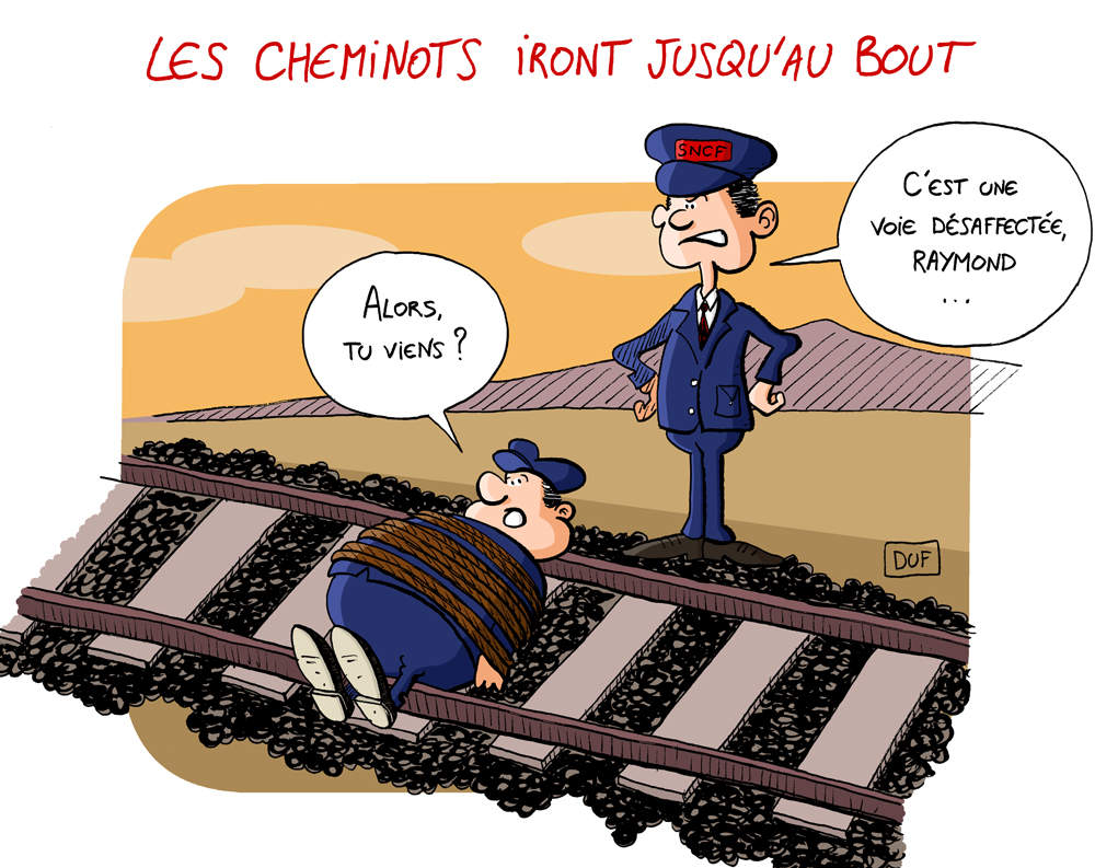 dessin humoristique d'un cheminot attaché sur le rail attendant un train