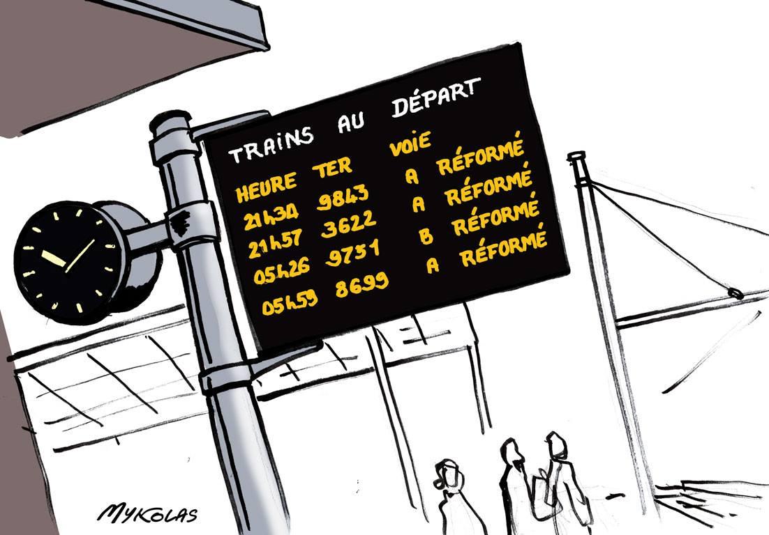 dessin humoristique d'un panneau d'affichage SNCF sur un quai de gare