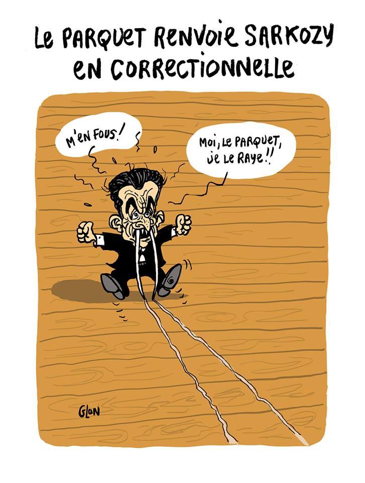 dessin humoristique de Nicolas Sarkozy avec des dents qui rayent le parquet