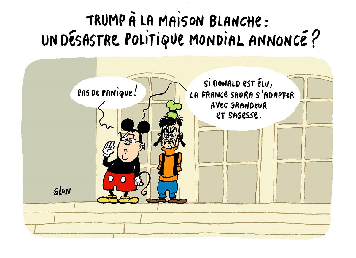 dessin humoristique de François Hollande en Mickey et Manuel Valls en Dingo