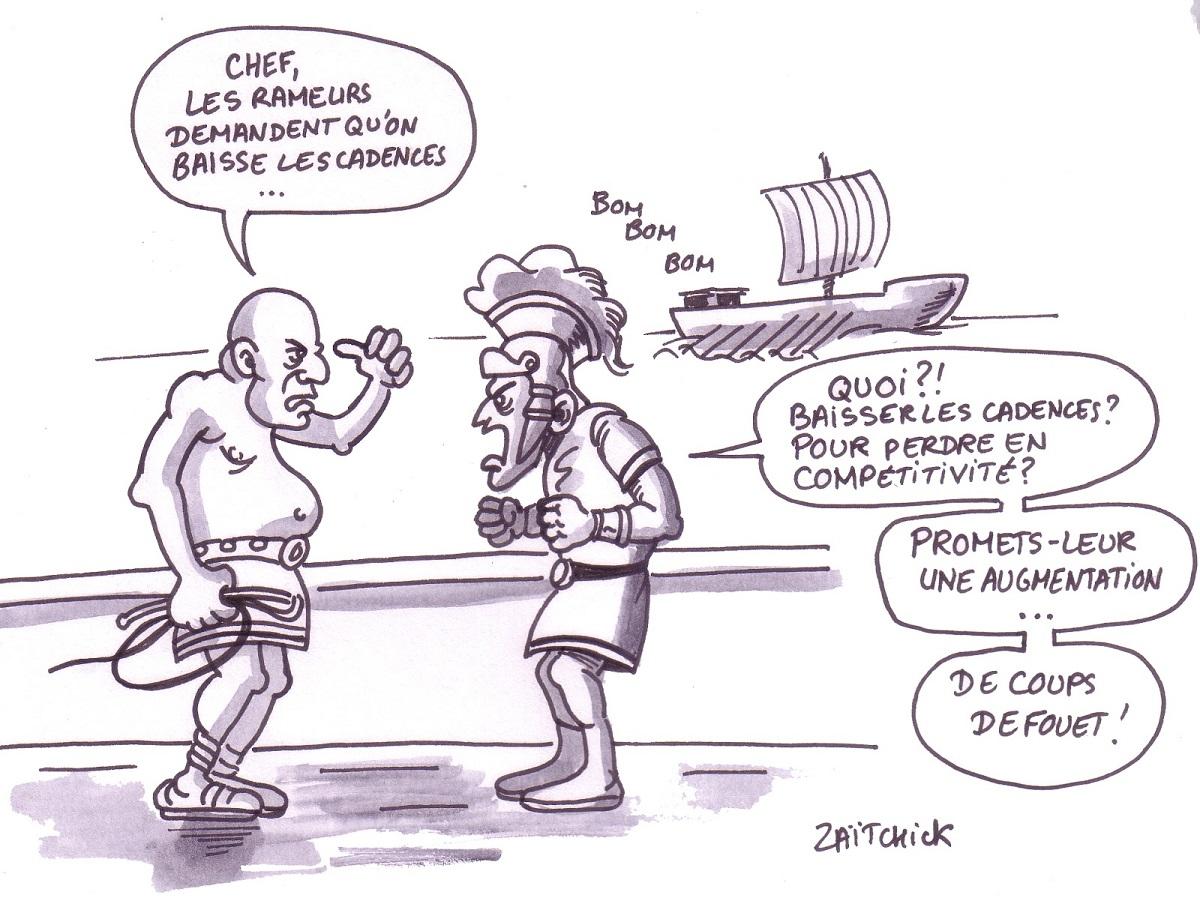 dessin humoristique d'une galère romaine où les rameurs demandent une baisse des cadences