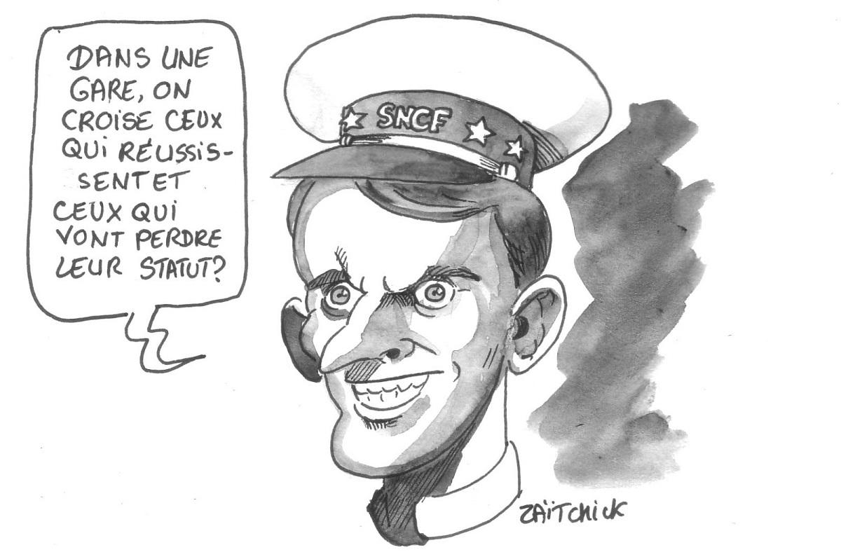 dessin humoristique d'Emmanuel Macron parlant de ceux qui réussissent dans les gares et ceux qui perdent leur statut