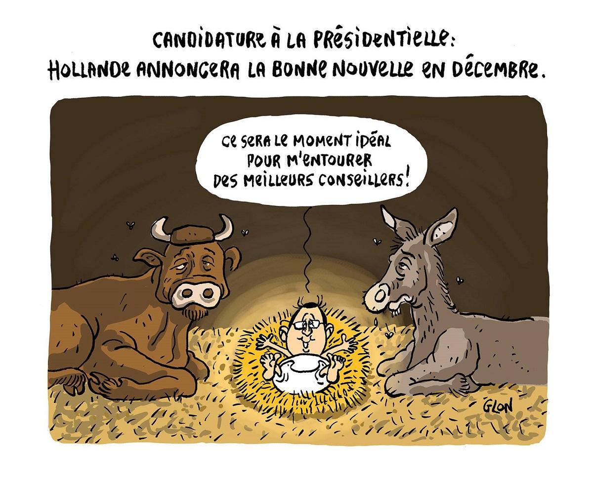 dessin humoristique de la nativité de François Hollande