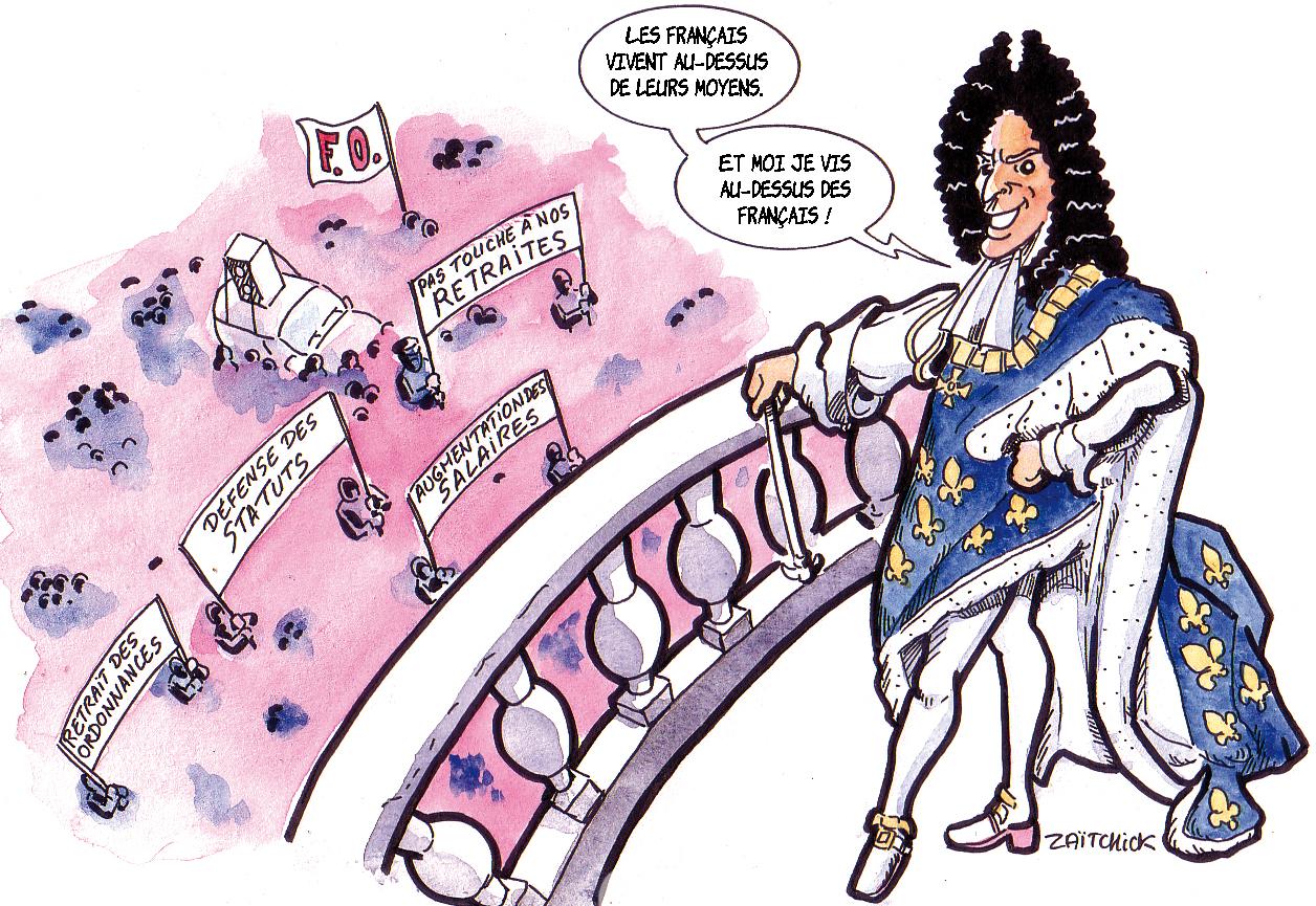 dessin humoristique d'Emmanuel Macron en Roi-Soleil contemplant les revendications des Français