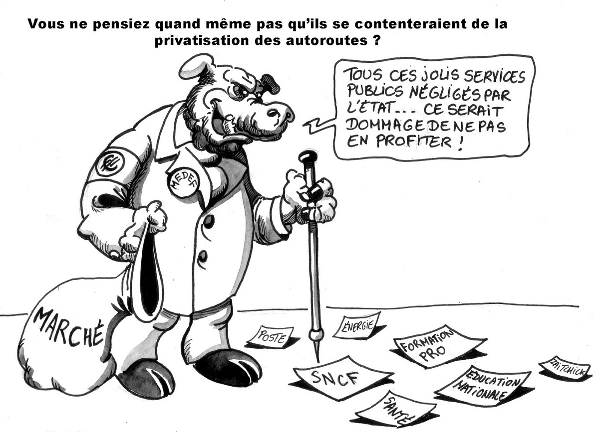 dessin humoristique du marché ramassant les services publics abandonnés par l'État